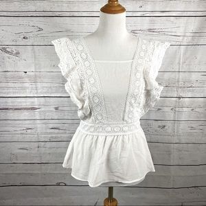 Twine and String white top Sz S